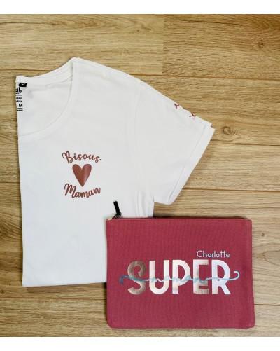 T-shirt BIO femme - coupe ajustée - Bisous Maman