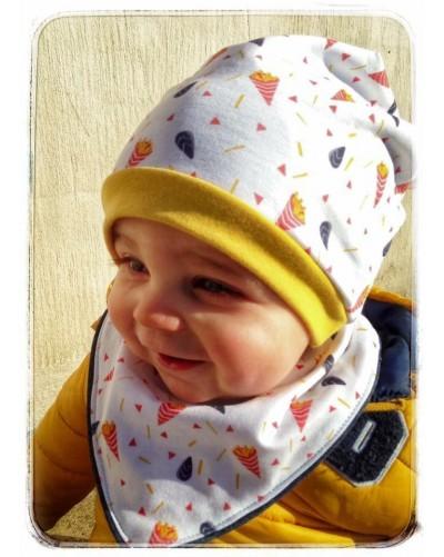 """Bonnet bébé """"Moules frites"""" couleurs - bord bleu marine"""