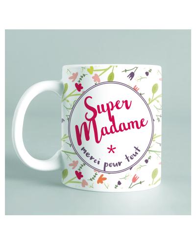 """Mug """"Super Madame"""" fleurs"""