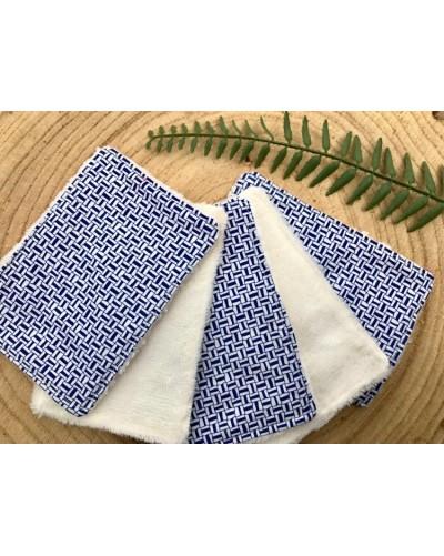 5 lingettes lavables - motifs bleus