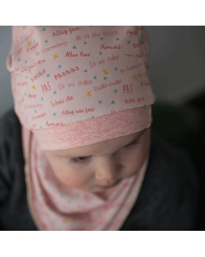 "Bonnet bébé ""BlaBla belge"" rose"