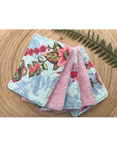 5 lingettes lavables - fleurs fond turquoise