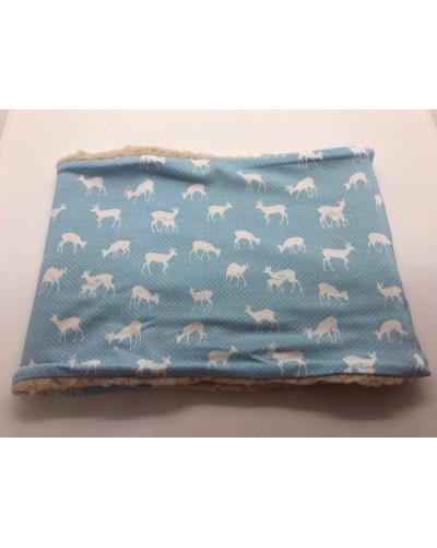 Snood fausse fourrure  - biches bleu ciel
