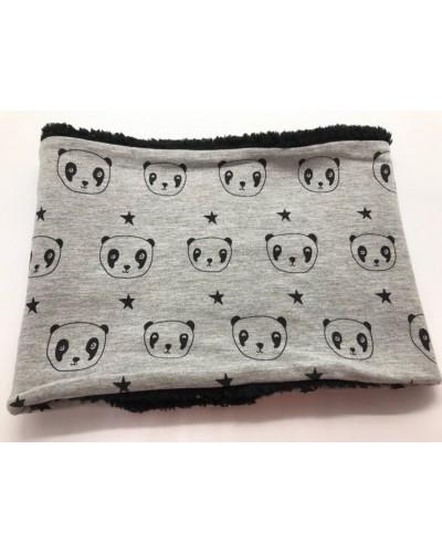 Snood fausse fourrure  - pandas gris
