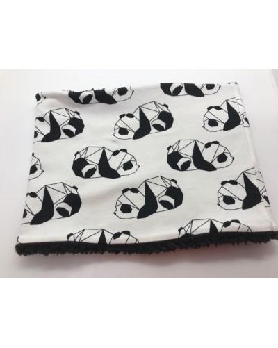 Snood fausse fourrure  - Pandas fond blanc