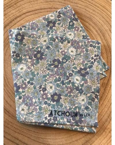 Mouchoir lavable - Fleurs bleues