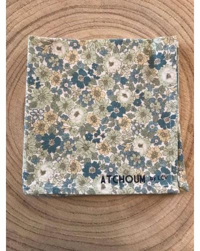 Mouchoir lavable - Fleurs vertes