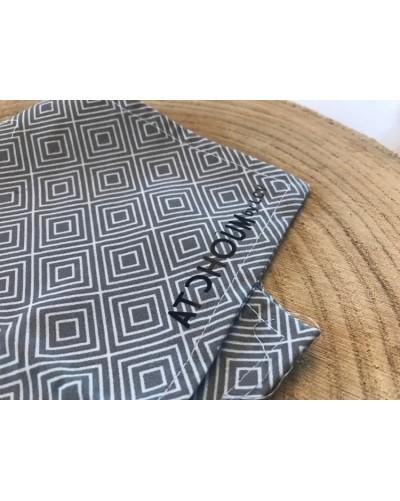 Mouchoir lavable - Losanges gris