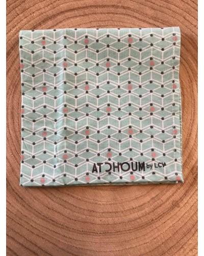 Mouchoir lavable - turquoise points roses